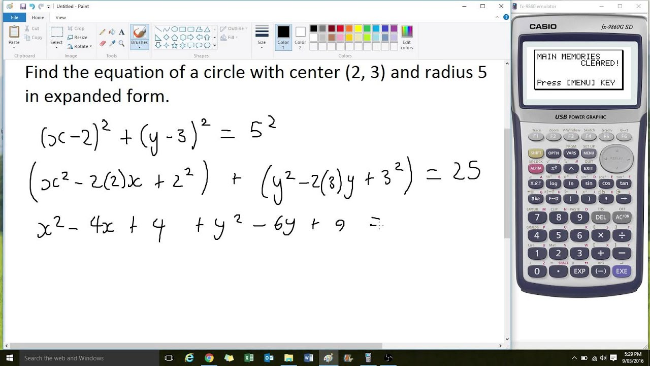 Writing The Equation Of A Circle In Expanded Form