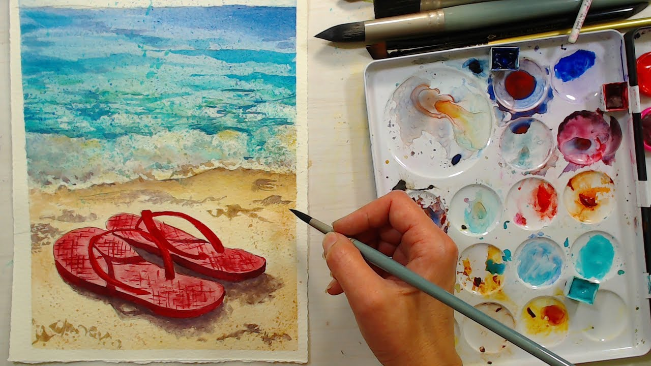 Flip Flops On The Beach Live Watercolor Tutorial 12 30pm