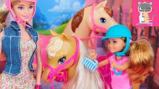 Barbie & Stacie Dolls Movie Saddle N Ride Barbie Sisters Moments Riding Lessons Doll and Horse ep 3