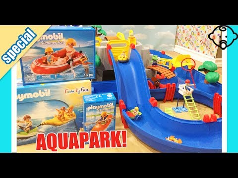Splash On The Aquaplay Waterpark Slides! 🌞Playmobil Kids Swim   Play With  Us!