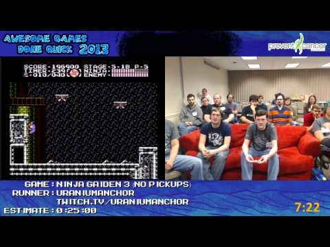 Ninja Gaiden 3 SPEED RUN (0:18:06) low% *Live at Awesome Games Done Quick 2013* [NES]