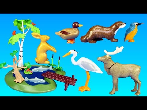 Playmobil Country Fishing Pond Wild Animals Building Set - Animals for children