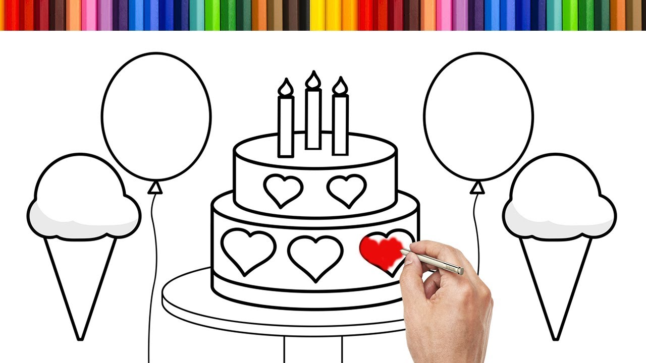 Coloring For Kids | Drawing Birthday Cake With Colored ...
