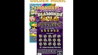 Golden Manic Monday - $10 Diamonds & Gold - $5 Pot of Gold - PA Lottery - Scratchers