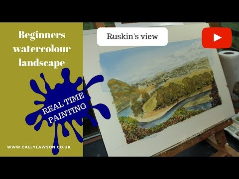 Beginners watercolour landscape, creating distance. Ruskin's view. Real time painting.