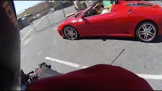 ferrari vs fz 07 minivan almost takes me out   l a motovlogs