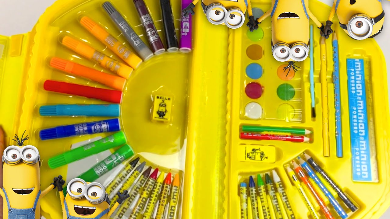 minions pencil and paint set drawing a minion diy coloring set minions toy video youtube
