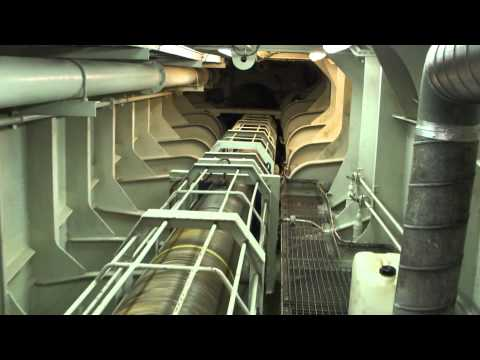 The engine compartment from the biggest ropax vessel in the world