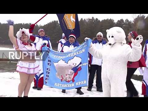 Russia: Barnaul ice swimmers make splash in 24-hour relay