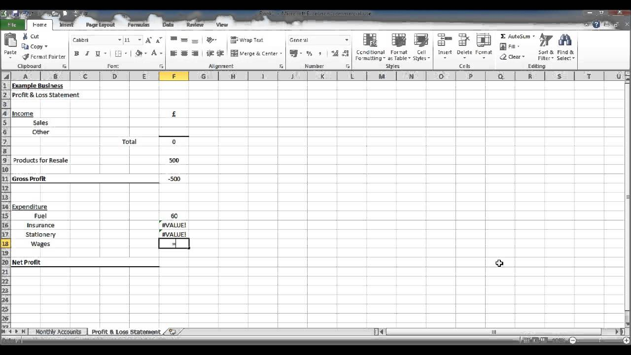 create a bookkeeping spreadsheet using excel