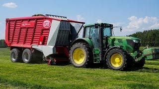 Sianokosy 2018- zbiór traw John Deere 6150M + Lely Tigo XR 65 D