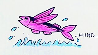วิธีวาดรูปปลาบิน How to draw a flying fish