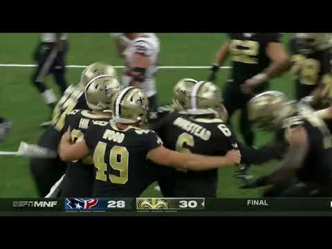 9/9/2019 - Texans vs Saints - Will Lutz game winning field goal!!!!!