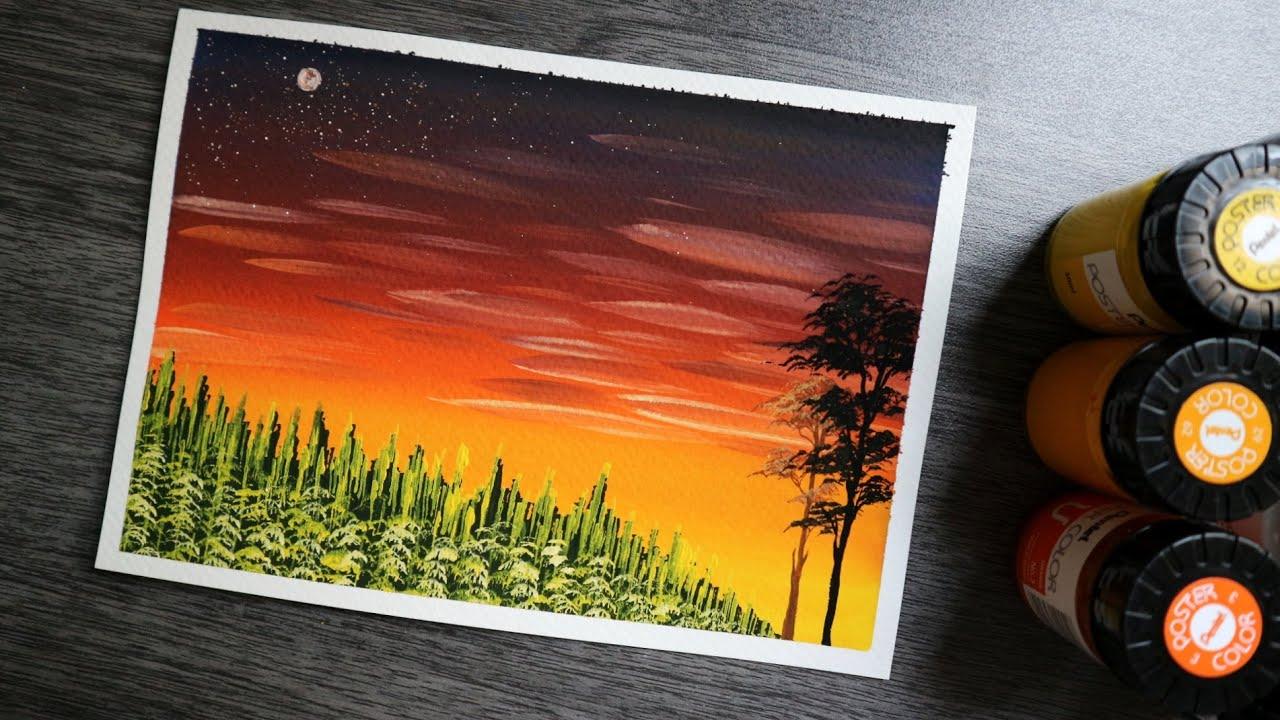 ART#35 | Vẽ hoàng hôn với màu nước |Poster color|Easy Landscape Painting for beginners