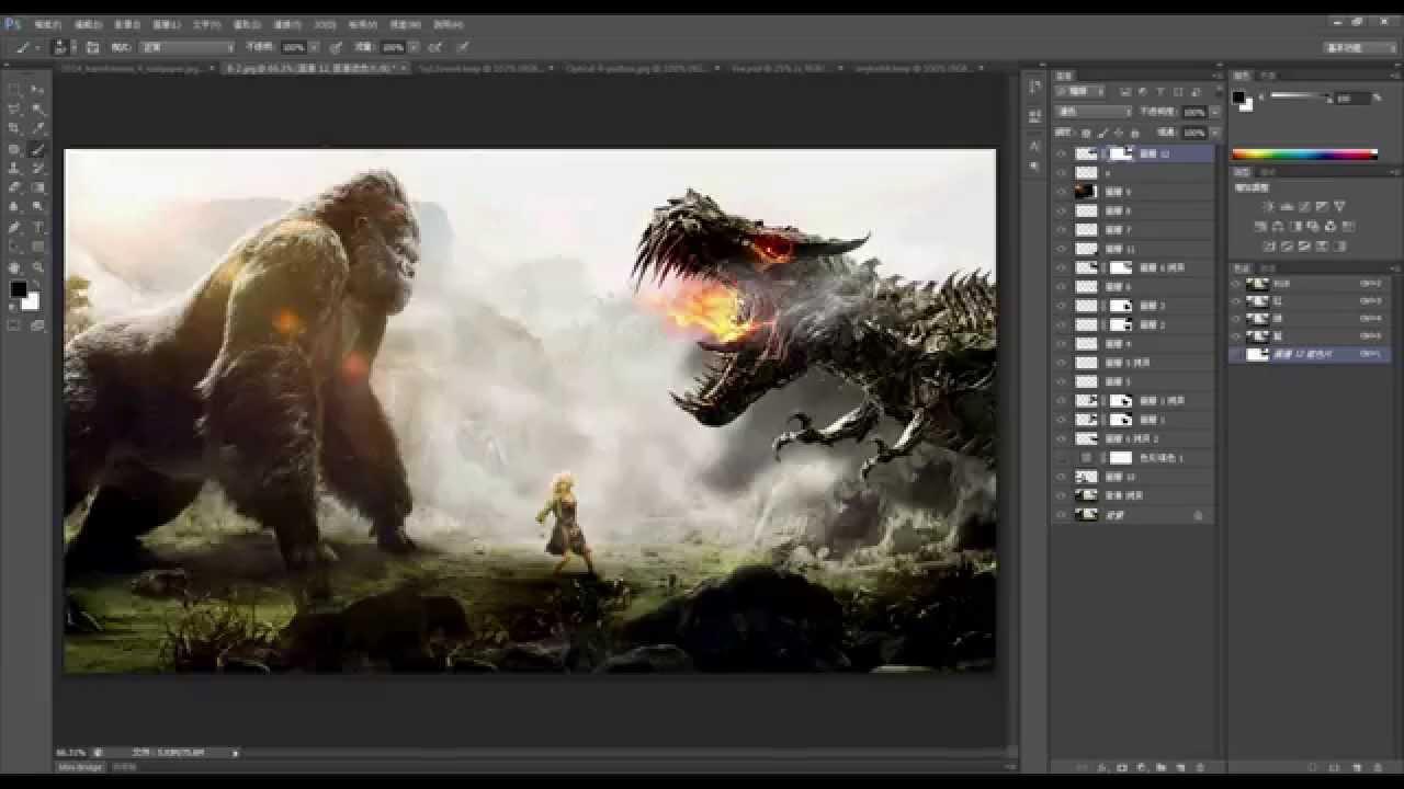 PhotoShop Studio - PhotoShop 合成教學 變形金剛 4 鋼索 遠古金剛 - YouTube