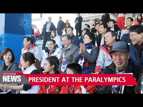 President Moon watches Paralympic cross-country skiing in Pyeongchang
