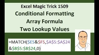 Excel Magic Trick 1509: Conditional Format Array Formula to Highlight Row With 2 Lookup Values