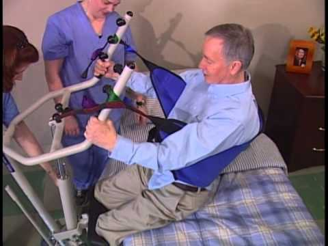 Transfer From Bed To Commode With Get-U-Up Lift And Standing Sling