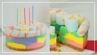 레인보우 마쉬멜로우 치즈케이크 Rainbow Marshmallow Cheesecake │순백설탕