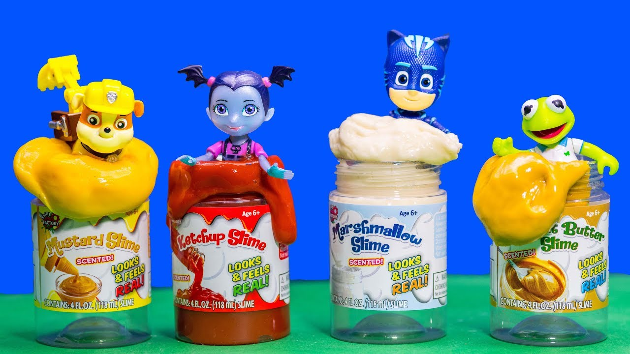 pj-masks-and-paw-patrol-play-in-food-scented-slime-with-vampirina-and-muppet-babies
