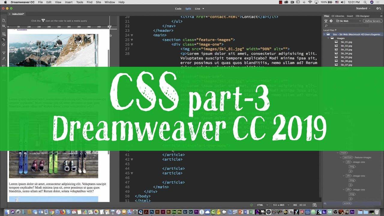 Ski Web Project 06 Responsive Web Design Media Queries Tutorial With Dreamweaver Cc 2019 Part 3 Youtube