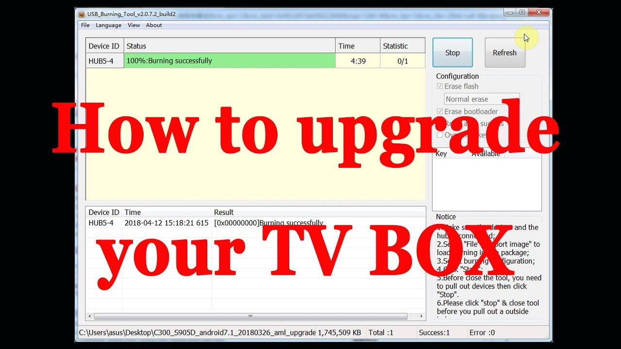 How to upgrade your android tv box firmware via USB Burning tool