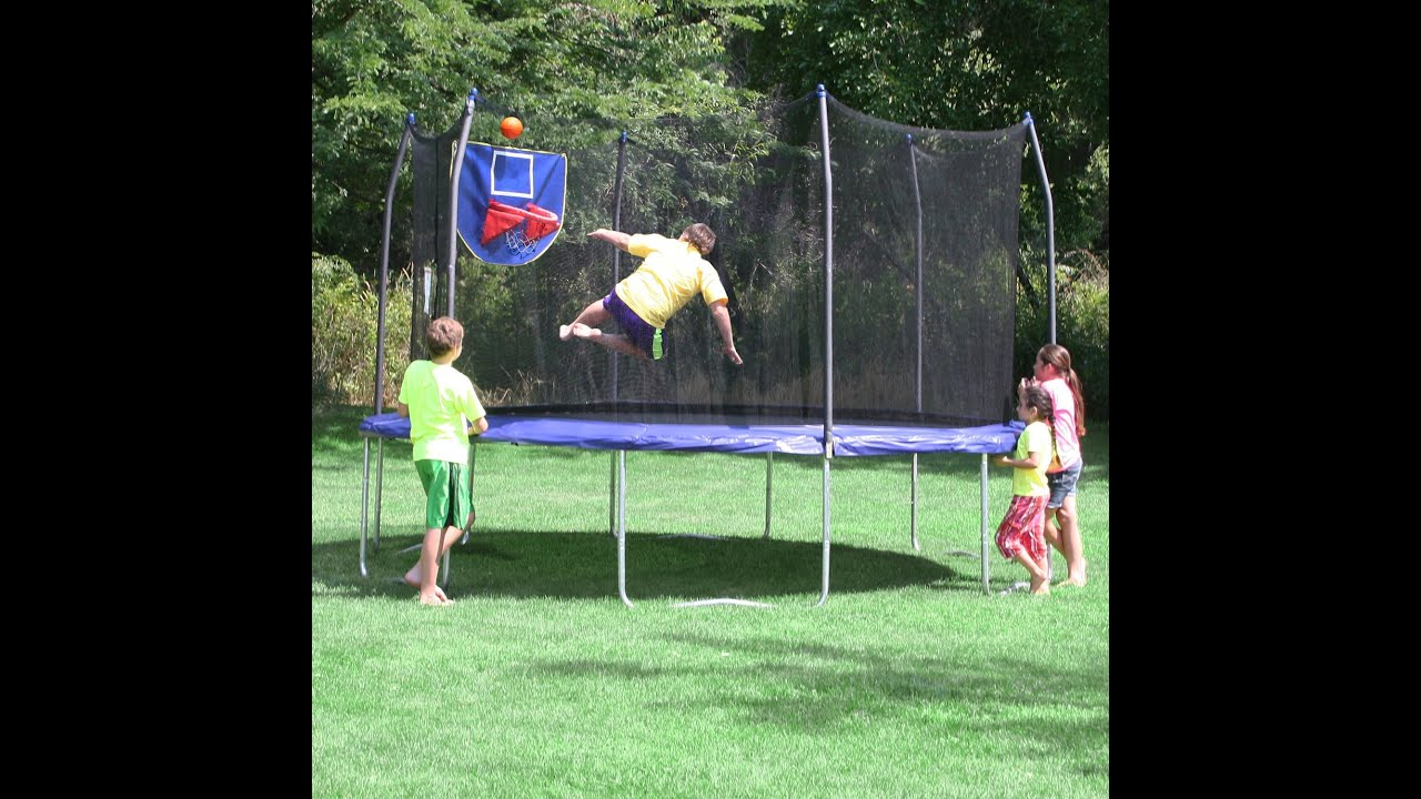 Skywalker Trampolines Jump N Dunk Trampoline With Safety Enclosure And Basketball Hoop Blue 15 Feet You