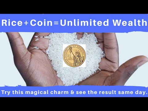 Ancient miraculous rice coins charm to attract money as natural way ritual