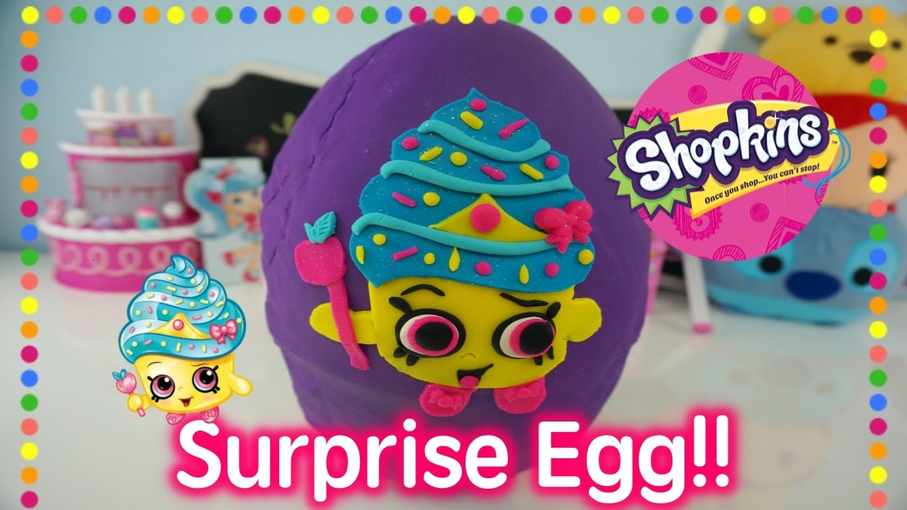 GIANT SHOPKINS PLAYDOH SURPRISE EGG Cupcake Queens Sprinkle Party