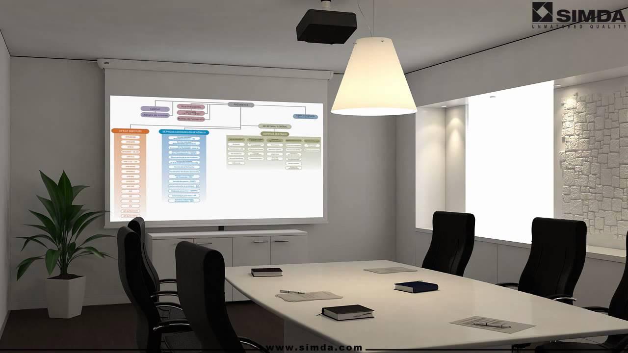 Ecoscreen electrol ecran de projection electrique mur - Ecran de projection encastrable plafond ...