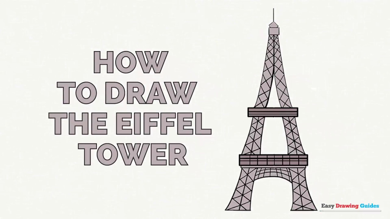 how to draw the eiffel tower step by step video