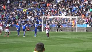 Andy Carroll penalty vs Leicester City - King Power Stadium - 17th April 2016