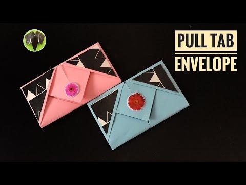 PULL TAB ENVELOPE - DIY Origami Tutorial by Paper Folds #713 💞