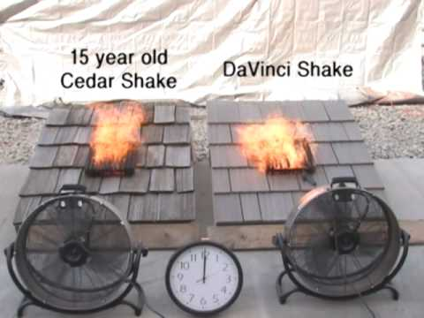 Cedar shake shingles fire test youtube for Fire resistant roofing
