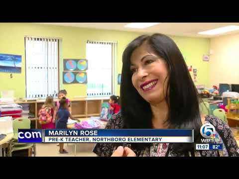 Teachers receive flowers from students at Northboro Elementary School in West Palm Beach