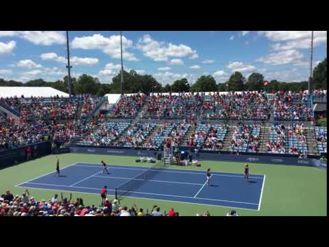 Mirza/Strycova winning point - Cincinnati Women's Double Final