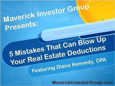 Diane Kennedy: 5 Mistakes That Can Blow Up Your Real Estate Deductions