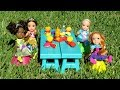 PICNIC ! Elsa and Anna toddlers - hide and seek - Barbie - food truck - tree house