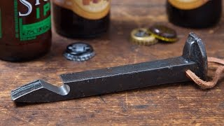 Use a railroad spike to crack open a bottle.
