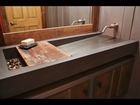 Concrete Trough Sink And Floating Vanity Ideas Youtube