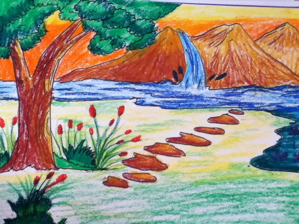beautiful scenery drawing for kids in simple steps - YouTube