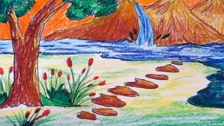 beautiful scenery drawing for kids in simple steps