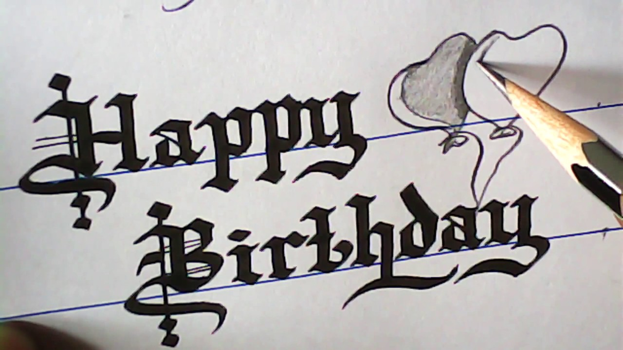 how to write happy birthday greeting old english font mazic writer