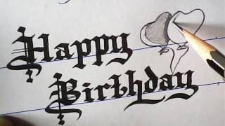 How to write Happy birthday Greeting | Old english font | mazic writer