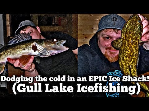Dodging The Cold In An EPIC Ice Shack (Gull Lake Icefishing)