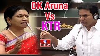 DK Aruna Vs IT Minister KTR in Telangana Assembly : War of Words | HMTV