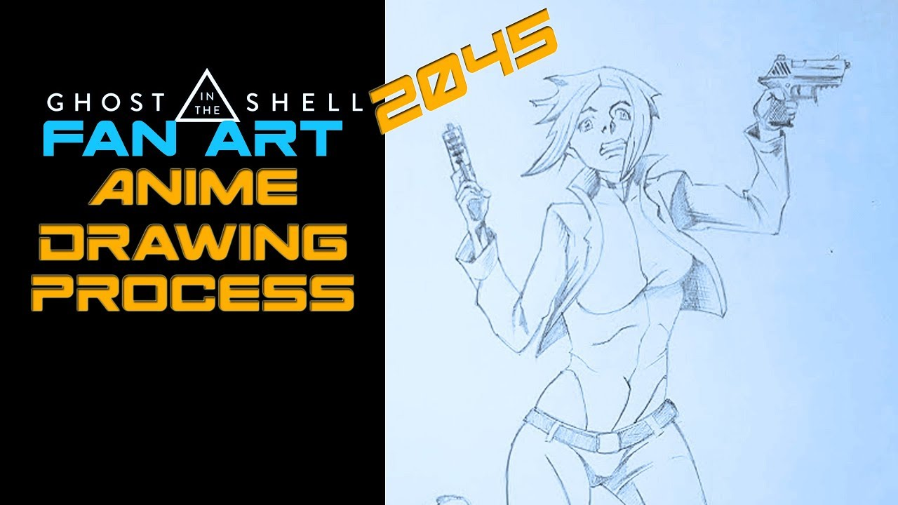 Anime Drawing Process Ghost In The Shell The Major Fan Art How To Get Better At Drawing Anime Youtube