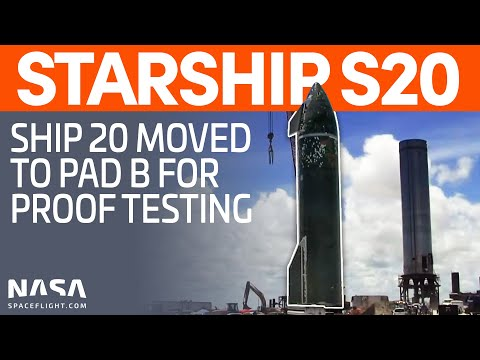 Ship 20 Lifted Onto Pad B for Proof Testing | SpaceX Boca Chica