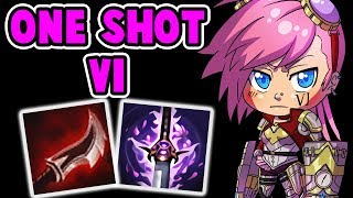 ONE SHOT VI MID GAMEPLAY | SO MUCH DAMAGE 100-0 IN 1 SECOND | League of Legends