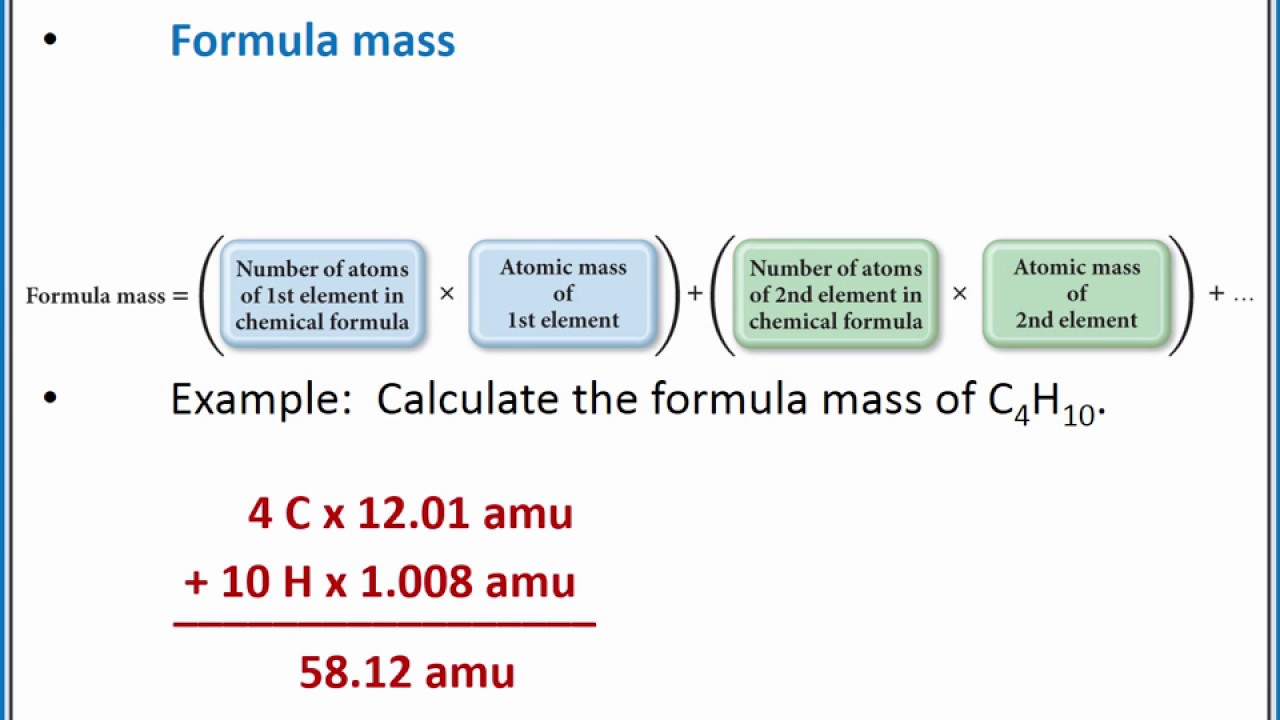 Chemistry 101 Calculating The Formula Mass From A Chemical Formula